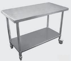 Premium Stainless Steel Mobile Workbench With Castors 700mm Deep with Solid Shelf Under.