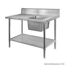 Stainless Steel Single Sink Benches 600mm Deep Economic 304 Grade SS