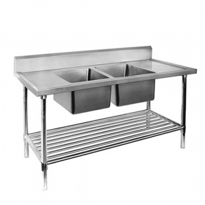 Premium Stainless Steel Double Sink Bench 600mm Deep