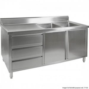 Kitchen Tidy Premium Stainless Steel Cabinet With Double Sinks, Doors & Drawers