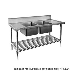 Premium Stainless Steel Double Sink Bench 700mm Deep