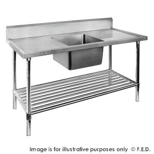 Premium Stainless Steel Single Sink Bench 600mm Deep