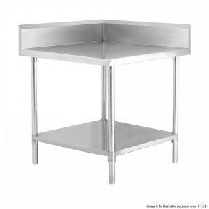 Corner Workbench with Splash back Undershelf