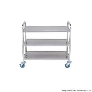Stainless Steel Trolley 3 Shelf With Standard Lip